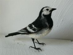 Needle Felted Pied Wagtail | Inspired by Victoriana but with a modern twist, Eve O'Neill creates sculptures from wool, lichen, antique liquor glasses,toadstools, feathers, and glass domes. Works are available for purchase in her Etsy shop.