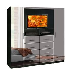 Aventa TV Chest - Chest with TV Space, 8 Drawers, Wardrobe Doors
