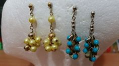 Vintage 1960s MOD Earrings 2 pairs Dangling Yellow and Aqua Blue with gold tone #unknown #DropDangle