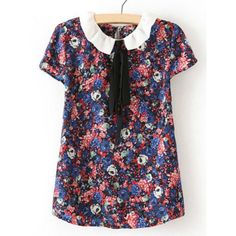 Preppy Style Peter Pan Collar Bow Drawstring Floral Print Short Sleeves Shirt For Women, AS THE PICTURE, L in Blouses | DressLily.com