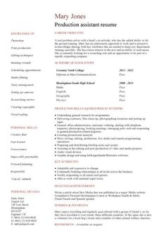 production assistant resume template httpwwwresumecareerinfoproduction