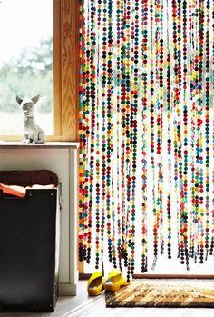 Creative DIY Curtains Ideas - Home Decoration Beaded Curtains, Door Curtains, Sweden House, Diy Home Decor, Room Decor, Decoration Inspiration, Idee Diy, Colorful Curtains, Felt Ball