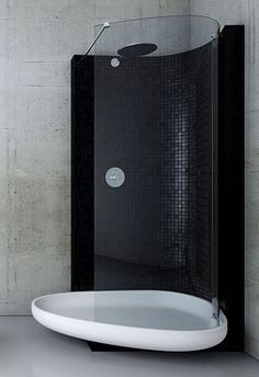 black waterfall shower