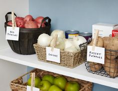 Clip labels onto baskets with clothespins.