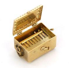 14k Gold Vintage Antique Music Box Charm Circa 1940's