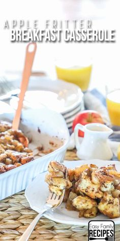 Used canned cinnamon rolls and apple pie filling for this apple fritter breakfast casserole Breakfast Potluck, Apple Breakfast, Easy To Make Breakfast, Breakfast Casserole Easy, Sweet Breakfast, Breakfast Dessert, Breakfast Dishes, Breakfast Recipes, Breakfast Ideas