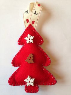 Red felt christmas decorations by HeartFelt00 on Etsy