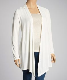 Take a look at this Ivory Draped Open Cardigan - Plus by Chris & Carol on #zulily today!