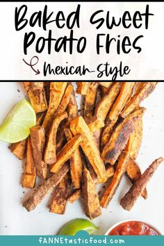 These Mexican-Style Baked Sweet Potato Fries are flavorful, so easy, and a perfect healthy side dish for just about any meal. Sweet potato fries are a great, healthy substitute for when you're craving fries. Side dish recipes | Ideas for side dishes #sidedish #sweetpotato #sweetpotatofries #easyrecipes