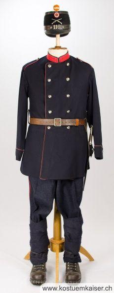 Ordonnanz 1861 Uniform mit Keppi der späteren Ordonnanz
