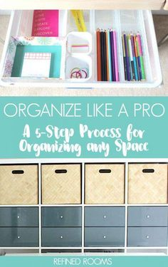 As a professional organizer I perfected my process for organizing. This process can be applied to ANY space (from a junk drawer to a garage). Learn all about my no-fail process for organizing any space in your home Accessories Home Office Organization, Organizing Your Home, Home Office Decor, Organizing Tips, Organization Ideas, Organising, Organizing Ideas For Office, Office Ideas, Decluttering Ideas