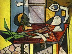 "Pablo Picasso - ""Leeks, and Pitcher Crane"". 1945"