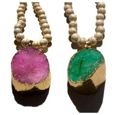 Pink or Turquoise Druzy Agate Necklaces in Gold Leaf with White Rondelle and Cream Howlite Beads $25