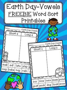 Friday FREEBIE Frenzy-Earth Day Vowels Word sort pintables