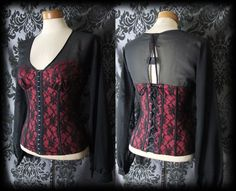 Gothic Black Red Lace Hook Up Fitted GOVERNESS Boned Corset Top 6 8 Victorian BN - £29.99