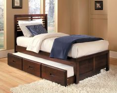 1348prf1 european design kids cherry wood full captain bed trundle