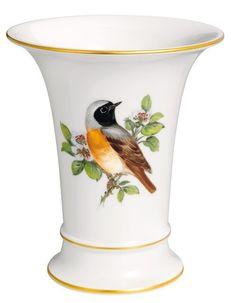 "Vase, Shape ""Neuer Ausschnitt"", Vintage Birdpainting, motif - Redstart, gold rim, H 14 cm"