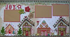 Christmas scrapbook idea: gingerbread houses - this looks like a lot of work, but fun! Christmas Scrapbook Layouts, Scrapbook Paper Crafts, Christmas Layout, Christmas Crafts, Recipe Scrapbook, Baby Scrapbook, Scrapbook Cards, Scrapbook Layout Sketches, Scrapbooking Layouts
