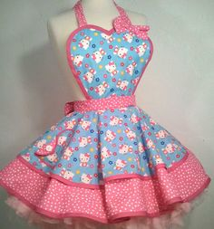 Pin Up Apron in Hello Kitty Pink & Blue Print. $55.00, via Etsy.