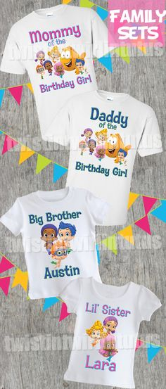 Bubble Guppies Family Birthday Shirts | Bubble Guppies Birthday Party Ideas | Bubble Guppies Birthday | Birthday Party Ideas for Girls | Birthday Party Ideas for Boys | Twistin Twirlin Tutus #bubbleguppiesbirthday