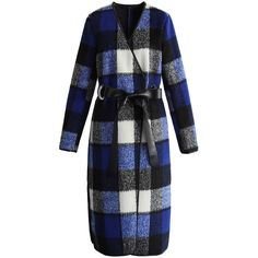 Chicwish Charming Plaid Longline Wool-blend Coat in Blue ($82) ❤ liked on Polyvore featuring outerwear, coats, multi, blue leather belt, tartan coat, plaid wrap coat, leather belt and plaid coat