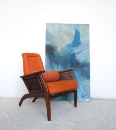 MCM Atomic Accent Lounge Side Chair. Orange Upholstery