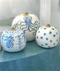 Pineapples Palms Too Coastal Pumpkins-Blue and Gold
