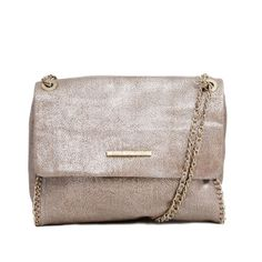 Nala returns for spring in new shades, but sporting the same chic versatility. Wear the Distressed Metallic Leather Nala as a short shoulder, long shoulder or a crossbody and enjoy her convenient exterior pocket and gold leather-wrapped chain.