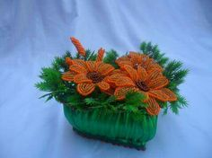 Orange beaded flowers