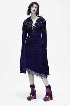 Hardeman's cotton denim jacket and Marques' Almeida's cotton denim dress. Anndra Neen earring. Photo by Jerome Corpuz