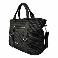 Bolsa Shopping para dama, Color Negro. Marca Jacob NY. Doble asa. Cierre interior y portacelular. Placa con logotipo de la marca.