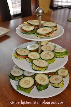 Cucumber-Avocado Chicken Salad Mini Sandwich appetizers --Don't Worry, Be Happy Mini Sandwich Appetizers, Mini Sandwiches, Antipasto, Paleo Recipes, Cooking Recipes, Delicious Recipes, Easy Recipes, Snack Recipes, Healthy Snacks