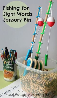 Promote early literacy and play-based learning with this fishing sight word sensory bin. Perfect for early childhood education, sensory play, developing fine motor skills, hand eye coordination, letter recognition, learning the alphabet and more.