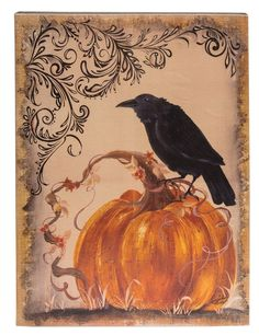 Fall Wood Sign Crow Pumpkin Country Primitive Harvest Wall Decor for sale online Crow Painting, Primitive Painting, Autumn Painting, Pumpkin Painting, Vintage Halloween Images, Halloween Pictures, Fall Pictures, Halloween Signs, Halloween Crafts