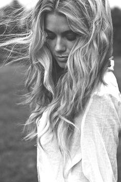 beachy hair and eyelashed