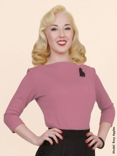 a86157d6ceb704 Slash Neck Top Coral Jersey from Vivien of Holloway Vintage Style Outfits