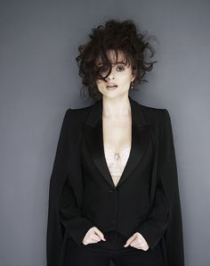 Helena Bonham Carter ~ pale skin with a grey pink lips and smoky eyes and dark…