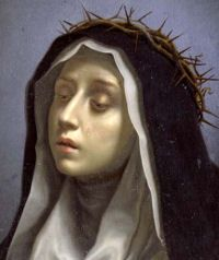 Catherine Benincasa, born in Siena at a date that remains uncertain, was favored with visions from the age of seven. Becoming a tertiary of the Dominican Order, she acquired great influence by her life of prayer and extraordinary mortifications as well as by the spread of her spiritual writings.