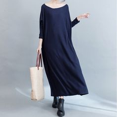 Slim Thin Knitted Deep Blue Sweater