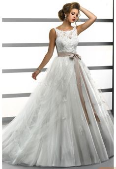 Elegant Bateau A-line Court Train Sexy Wedding Dress Sottero and Midgley Gigi 2013