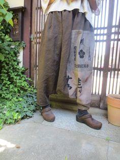 古布リメイク☆秋の旅行におしゃれでラクチン♪染め布と手ぬぐいでサルエルパンツ - 西垣洋子