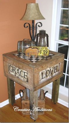 Old crate turned into table