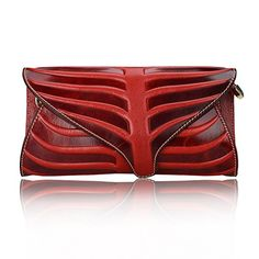 Pijushi Leaf Designer Handbags Embossed Leather Clutch Bag Cross Body Purses 22290 (One Size, Red) >>> Click on the image for additional details.