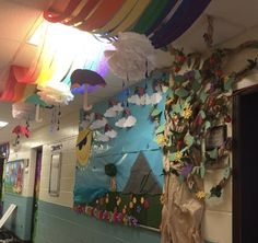 Bulletin board school rainbow tree School Bulletin Boards, Ms, Rainbow, How To Make, Rain Bow, Rainbows, School Data Walls