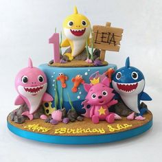 Birthday Cake For Father, Shark Birthday Cakes, Toddler Birthday Cakes, Pink Birthday Cakes, Baby Boy First Birthday, Homemade Birthday Cakes, Card Birthday, Birthday Ideas, Birthday Invitations