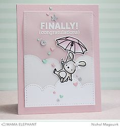card critters bunny umbrella mama elephant Up and Away Bountiful Blessings clouds cloud border