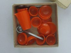 Coffee service / orange plastic tableware for by ideenreichBerlin