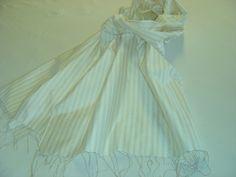 Seidenschals - Seidenschal Streifen Fransen - ein Designerstück von textilkreativhof bei DaWanda