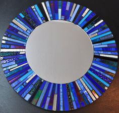 """Mosaic Stained Glass Mirror - 24"""" Cobalt Blue, Black, Silver.via Etsy."""