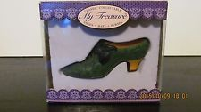 My Treasure Miniature Shoe Collectable Green with Black Bow